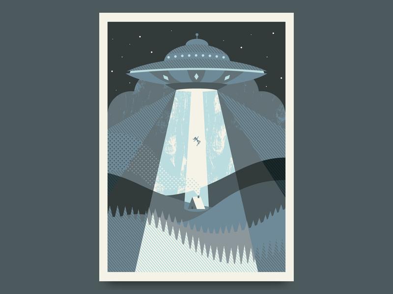 UFOh no! poster night sky woods alien ufo