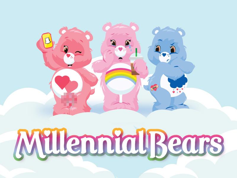 Millennial Care Bears love a lot cheer grumpy coffee snapchat millennial carebear bear care bears
