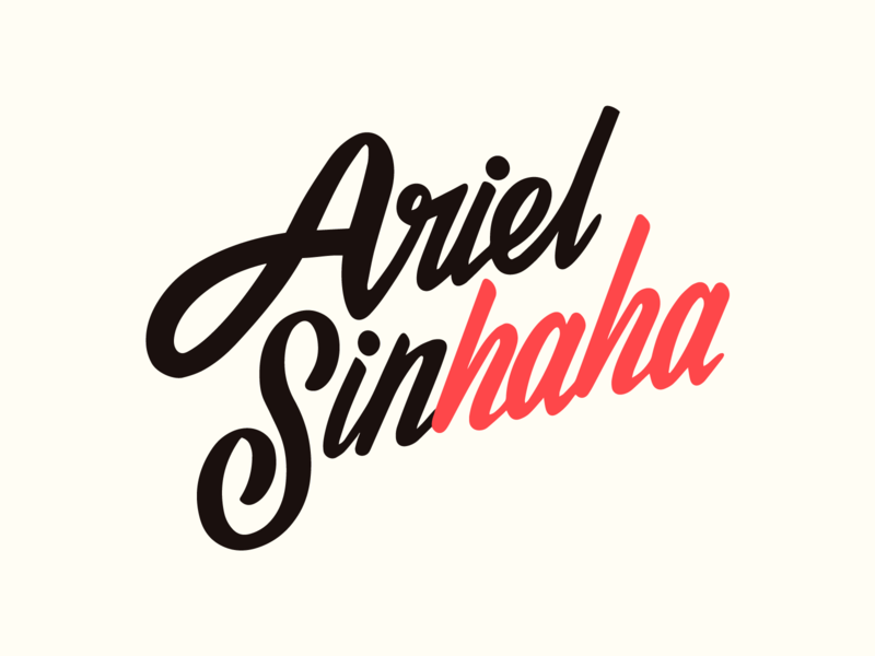 Ariel Sinhaha hand lettering personal logo hand lettering logo personal branding personal brand hand lettering