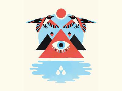 pyramids illustration geometric triangles sun birds tears eye water egyptian aztec pyramid