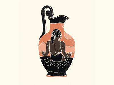 vessel figuredrawing illustration mountains sun pitcher water pose model vase greek vessel