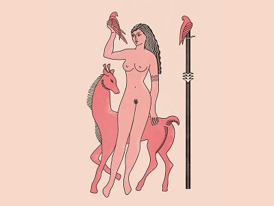 Offering warrior woman huntress goddess sun offering bird deer illustration roman greek