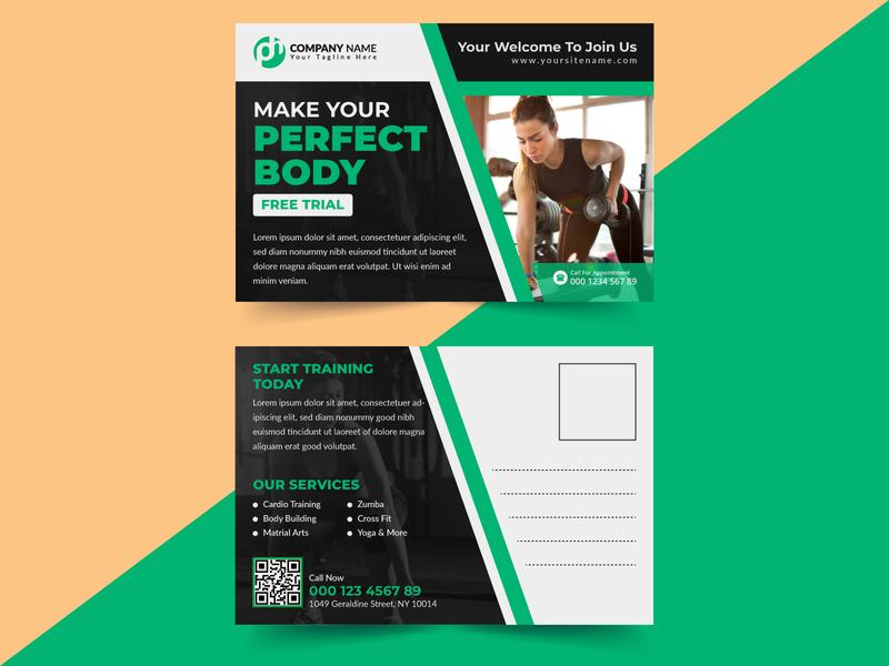 Gym/Fitness Postcard Design Template