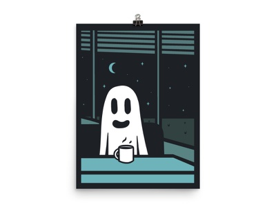 Ghost Town halloween design fall poster print vector design illustration halloween diner coffee ghost