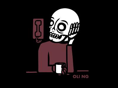 Oli Ng - Waiting bandmerch vector merchandise design merchandise merch design t-shirt design musician band tee music design shirt design skeleton band merch skull illustration