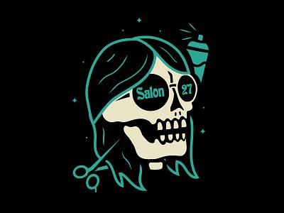 Salon 27 scissors hair salon branding vector design shirt design skeleton skull illustration
