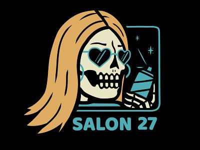 SALON 27 hairspray retro salon skeletons skele vector design shirt design skeleton skull illustration
