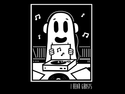 A Ghost & It's Record Collection records vinyl ghost halloween spooky merch design pop punk music vector design shirt design band merch illustration