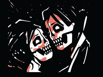 3 CHEERS love my chemical romance mcr emo vector spooky halloween pop punk music design skeleton skull illustration