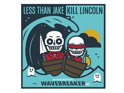Wavebreaker #1 ska beach wave vector design skeleton band merch skull illustration