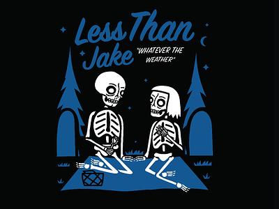 Less Than Jake - Picnic band merch shirt design illustration skeleton skull graveyard love picnic ska less than jake
