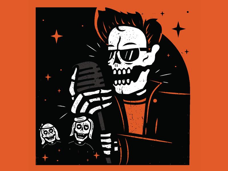 Reverend Horton Heat - Block Party Poster concert hampton reverend horton heat poster art rock band rock n roll rockabilly poster music skeleton illustration skull