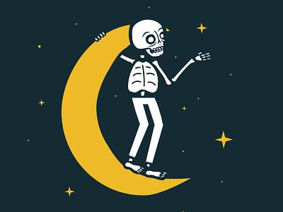 Reach For The Stars sky night stars moon design illustration skeleton skull