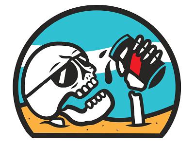 Beach Brew summer beach beer design skeleton shirt design illustration skull