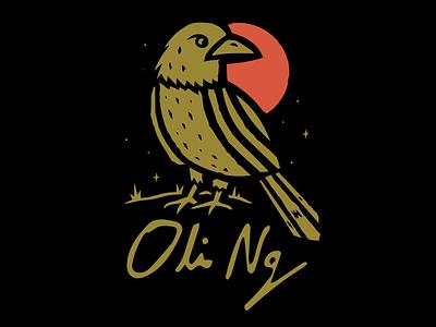 Oli Ng - Night Bird vector shirt design band merch illustration stars moon night nature bird