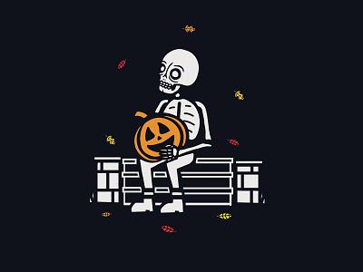 Fall Doodle drawing spooky leaves fall pumpkin halloween skeleton skull illustration