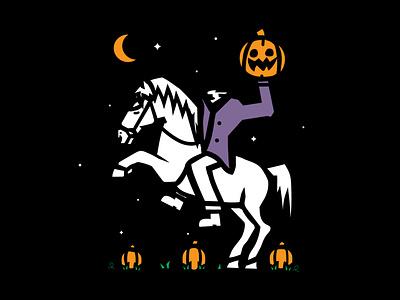 Headless headless horseman jack o lantern fall spooky night moon horse pumpkin halloween vector design illustration