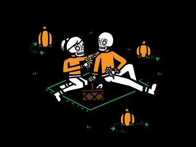 Pumpkin Patch Picnic halloween fall pumpkin patch pumpkin picnic vector design skeleton skull illustration