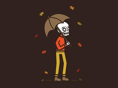 November skeleton walk nature sweater fall colors graphic illustration skull umbrella november leaves fall