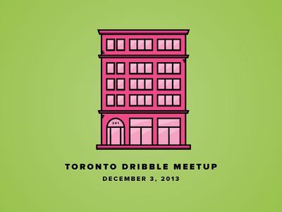 Official Dribbble Meetup Toronto - Dec 3, 2013  dribbble toronto spadina pink green building illustration