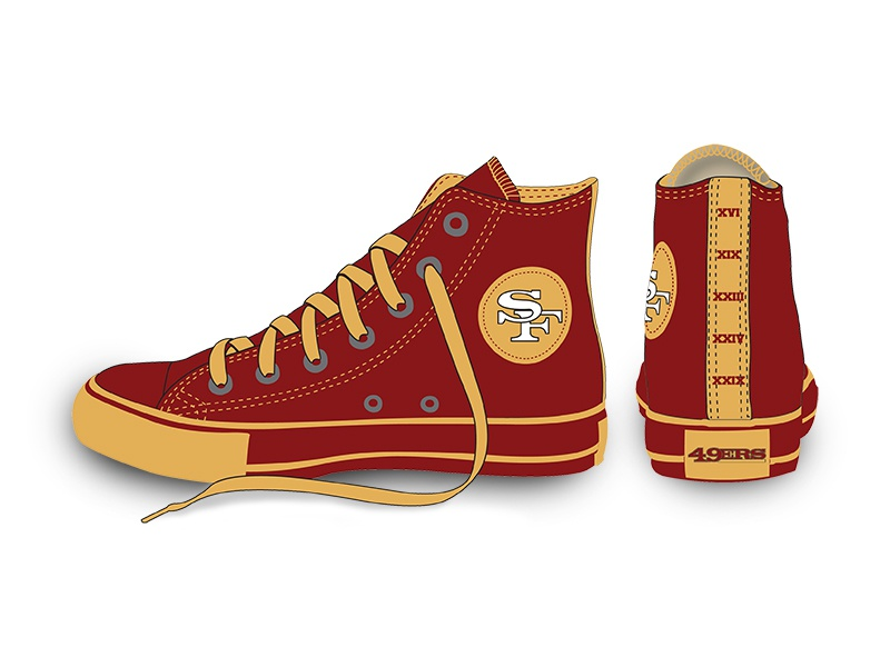 San Francisco 49ers NFL Converse Shoe by Shannon Braach on