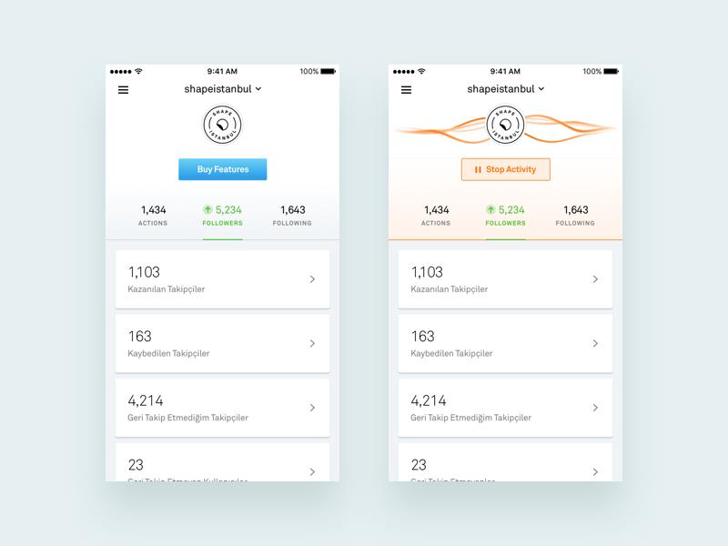 Statistics Page - Followify instagram activity app mobile app design minimal statistics ux ui clean user interface mobile application mobile app