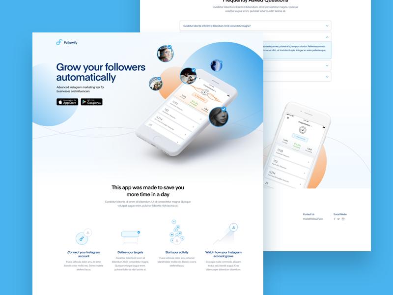 Landing Page - Followify white blue app landing website app website clean homepage web design ui landing page