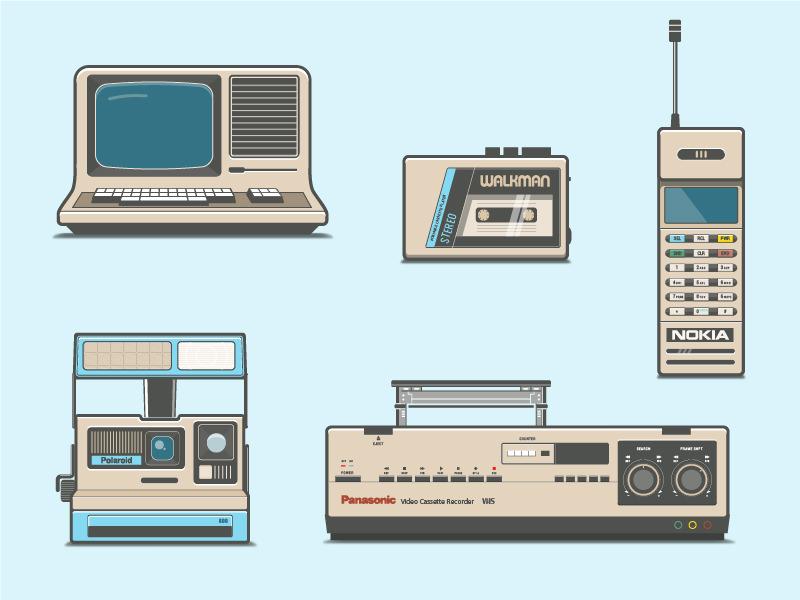 80s Electronics camera polaroid phone computer vhs walkman 80s vector free retro illustration icon