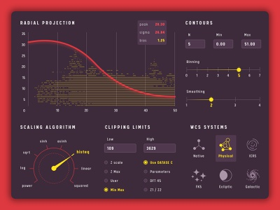 Dashboard Elements data software astronomical space gui design interface measure dashboard chart