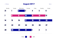 Kiduty calendar view