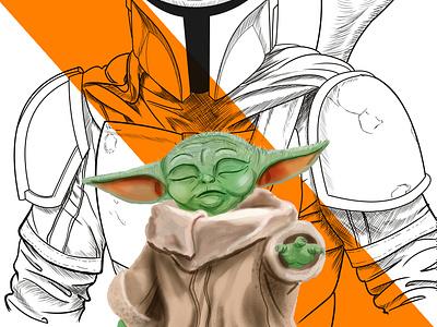 baby Yoda mandalorian starwars cyberpunk illustration