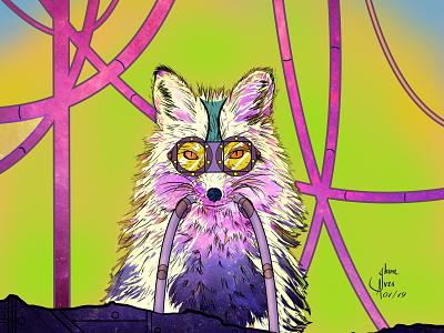 Raposa jheinealves steampunk fox art cyberpunk illustration