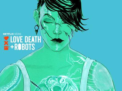 Sonnie sonnie lovedeathrobots netflix digitalart steampunk cyberpunk jheinealves illustration art