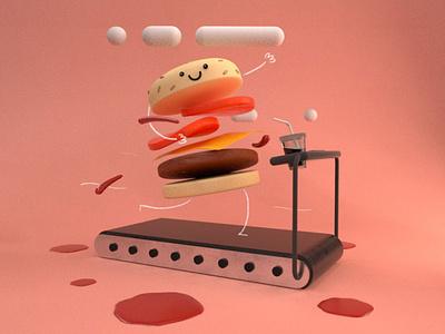 Burger cute kawaii monsters octanerender illustration 3d