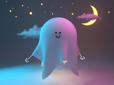 Ghost man kawaii cute monster illustration octanerender c4d