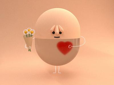 Transparent guy illustration octanerender c4d kawaii cute love