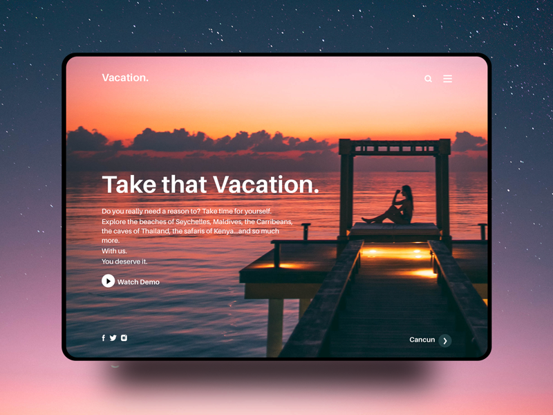 Travel agency interface. webdesign dailyui travel ux ui