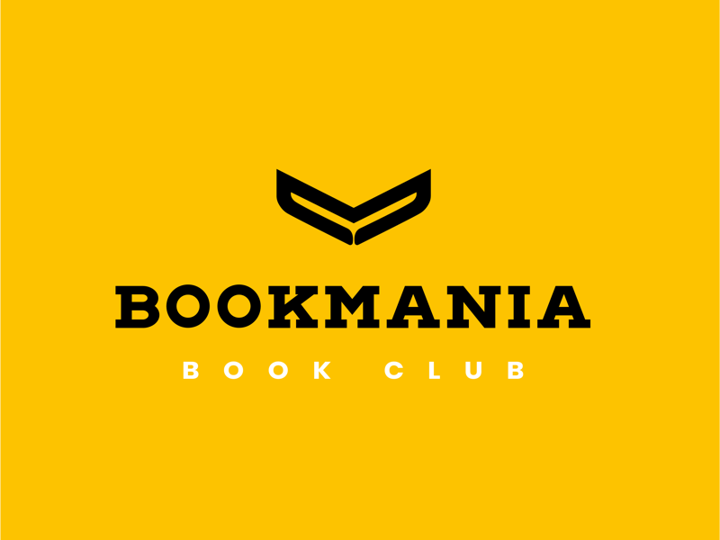Bookmania typography bookclub icon abstract branding design logo design logo