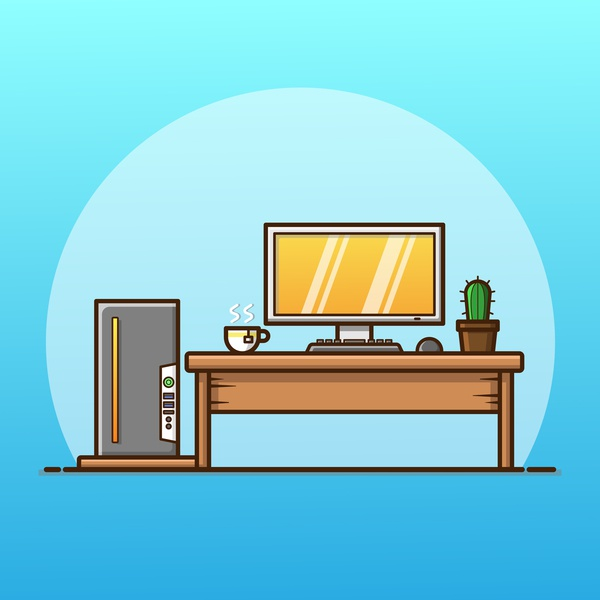workplace workplace work pc computer work station office icon design gradient outline colorful adobe illustrator illustrator design vector logo illustration icon creative