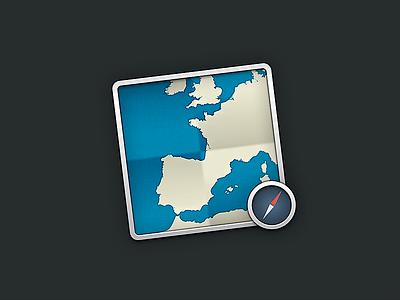 Maps icon skeu square compass icon map