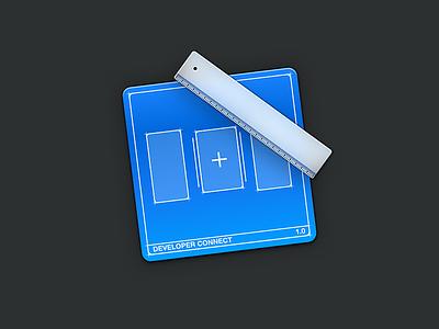 Developer icon skeu new add create ruler blue icon blueprint developer