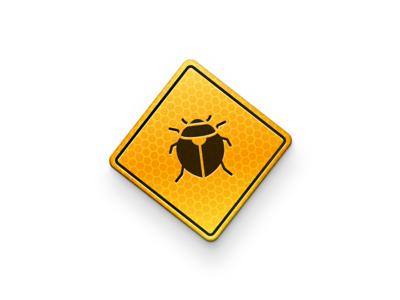 Bug icon ios macos skeu 1830 danger yellow sign icon bug