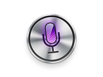 Siri icon skeumorphic skeu design app iphone ui button led glass mic metal siri icon