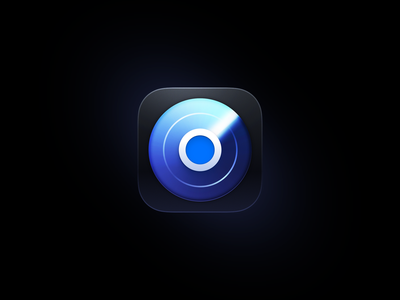Hood Icon app skeu blue animation glass metal map location bubble radar buron iphone ui icon ios