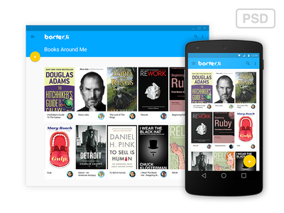Barter.li - Android L Web and Mobile Interface androidl android web mobile books social local barter barterli swap sell psd
