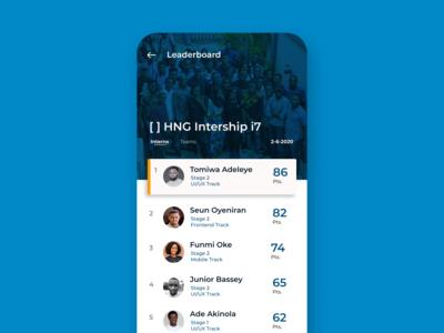 Leaderboard page UI/UX ui ux mobile ui