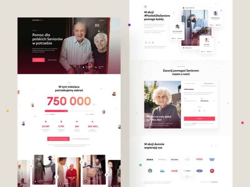 #PosilekDlaSeniora – Landing Page share covid-19 covid fundraising senior social cards tabs progress hero web onepage homepage ui website landing