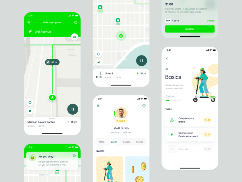 Lime – Electric Scooters Experience Reimagined profile illustration tab fab location ui design escooter electric scooter coins quest tutorial map mobile gps navigation onboarding app ios