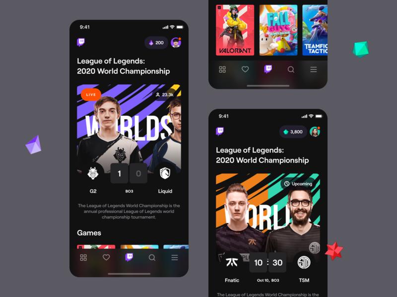 Twitch – Mobile application black purple dark dashboard esports bits stream live results cards tab bar legends league g2 lol game esport twitch app ios