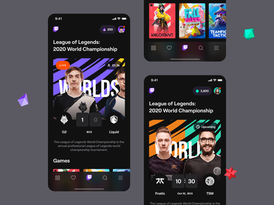 Twitch – Mobile application black purple dark dashboard esports bits stream live results cards tab bar legends league g2 lol game esport twitch app ios